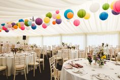 45 Exciting Wedding Lanterns Design Ideas With Hanging On Lights - Getting all the details of your wedding can seem hard, and tedious. However, you have the last word of how you choose to use the decorations including. Wedding Ceiling Decorations, Marquee Decoration, Tent Decorations, Wedding Lanterns, Marquee Wedding, Lanterns Decor, Multicolor Wedding, Colorful Decor, Event Decor