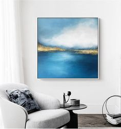 Abstract seascape oil Painting printable, blue wall art, Fog overtaking water, Beautiful lake after Porch Paint, Digital Wall, Affordable Art, Large Painting, Blue Walls, Large Wall Art, Printable Wall Art, Wall Art Prints, Abstract Art