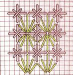 Fan stitch with Double Cross Stitch - click to enlarge