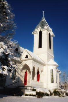 Ashford Memorial Methodist, which is next door to us (though rarely so beautifully covered in snow), in Watkinsville