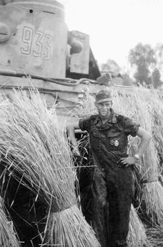A crew member posing with his Tiger 1 while serving in the Ukraine
