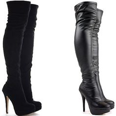WOMENS LADIES BLACK OVER THE KNEE THIGH HIGH STILETTO HEEL PLATFORM BOOTS SIZE in Boots | eBay