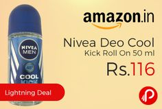 Amazon #LightningDeal is offering 30% off on Nivea Deo Cool Kick Roll On 50 ml Just at Rs.116. The Cool Kick range gives an instant pleasant cooling kick and leaves you with a vitalized fresh feeling all day It combines intense long-lasting freshness and protects your skin with a fresh scent that invigorates your senses,  http://www.paisebachaoindia.com/nivea-deo-cool-kick-roll-on-50-ml-just-at-rs-116-amazon/