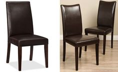 Pottery Barn Grayson Chair comes in chocolate brown, orange, and tan leather. On Overstock.com, a set of two Shino Bi-cast Leather Chairs in brown leather is available for $143.99