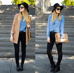 Mango Fedora Hat, H&M Coat, H&M Lace Triangle Bra, Shirt, High Waisted Jeans, Zara Heels, Parfois Bag