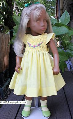 smocked doll dresses | Smocked yellow summer dress with embroidered rosebuds, size 40, bunny ...