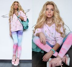 Я летаю, Я в раю (by Ekaterina Normalnaya) - Galaxy Leggings, Sneakers, Mint Backpack, Cross Necklace, Mint Watch