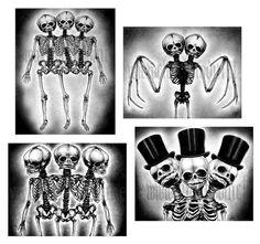 Prints 8x10   Skeletons  Conjoined Twins Bones Skulls by chuckhodi, $23.00