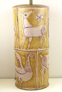 Guido Gambone Lamp Mid Century Modernist Ceramic Italy