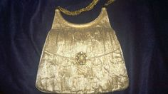 Vintage Lou Taylor 60s Evening Clutch Purse Doubled Sided Mirror Lame Gold Chain #LouTaylor #Clutch