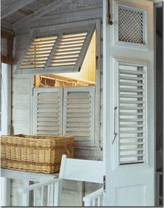 A beach cottage style window using weathered shutters./ over small bdrm window Beach Cottage Style, Coastal Cottage, Coastal Homes, Cottage Homes, Beach House Decor, Coastal Living, Coastal Decor, Cottages By The Sea, Beach Cottages