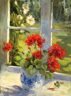 Hedi Moran. Geraniums on cottage windowsill
