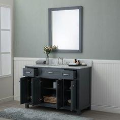 Alya Bath Norwalk 48 in. Single Bathroom Vanity in Gray with Carrera Marble Top Sink Countertop, Marble Countertops, Black Vanity Bathroom, Single Sink, Cabinet Handles, Vanity Set, Grey Walls, Design Projects, Storage Spaces