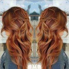 Fall hair color, Balayage Hair Red And Blonde