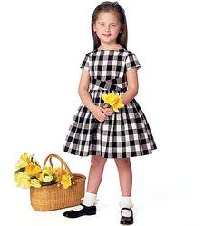 Retro Butterick dress sewing pattern for girls. Circa 1961; features pretty pleated cummerbund and full skirt. B6315