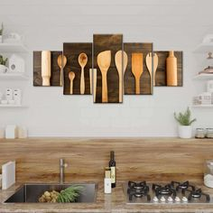 Kitchen Utensils Multi Panel Canvas Wall Art will make your kitchen or restaurant aesthetically appealing. This beautiful canvas print is sure to stimulate your taste buds and get you ready for the next meal! Fall Kitchen Decor, Boho Kitchen, Kitchen Wall Art, Kitchen Signs, Mensa, Kitchen Pictures, Home Kitchens, Small Kitchens, Farmhouse Restaurant