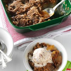 Apple-Pecan Gingerbread Cobbler Recipe -My favorite cobbler recipe is a scrumptious blend of gingerbread and apples. It's easy to make and perfect when topped with ice cream. —Lois Hendrix, Redondo Beach, California