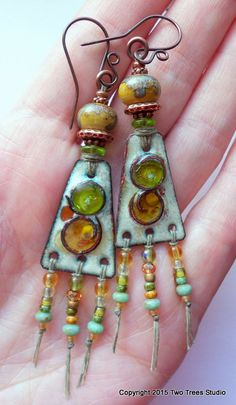 Gorgeous handcrafted artisan earrings by TwoTreesStudio, lampwork beads by Julie Wong Sontag (Uglibeads) and enamel plates by Blue Hare Art Wear. #uglibeads