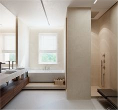 Bathroom in neutral shades and natural materials, by Fedorova