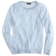 J.Crew Italian Featherweight Cashmere Long-Sleeve T-Shirt ($135) ❤ liked on Polyvore featuring tops, sweaters, long sleeves, tops/outerwear, blue long sleeve top, feather sweater, feather top, wool cashmere sweater and long sleeve tops