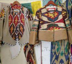 Alix of Bohemia Ikat jackets. Batik Blazer, Blouse Batik, Batik Dress, Batik Fashion, Ethnic Fashion, Boho Fashion, Womens Fashion, Mode Batik, Indonesian Kebaya