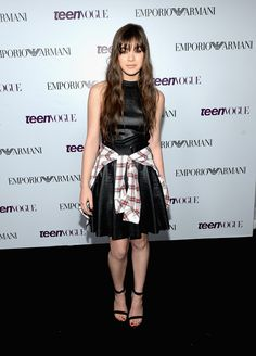 Teen Vogue Party: Hailee Steinfeld Styles Her Emporio Armani Dress With A Plaid Shirt