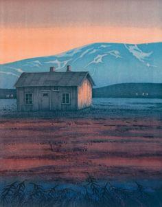 """""""Barndomsminne"""" lito by Eva Harr, Norway Painting Collage, Paintings, Scandinavian Art, Love Art, Printmaking, Childhood Memories, Norway, Sculptures, House Styles"""