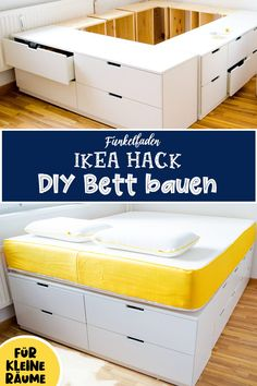 Newest Images DIY IKEA HACk - Build your own platform bed from Ikea dressers / a. - Newest Images DIY IKEA HACk – Build your own platform bed from Ikea dressers / advertising Style - Bedroom Storage Ideas For Clothes, Bedroom Storage For Small Rooms, Diy Storage Bed, Storage Hacks, Space Saving Bedroom Furniture, Space Saving Beds, Extra Storage, Ikea Hack Bedroom, Diy Bedroom