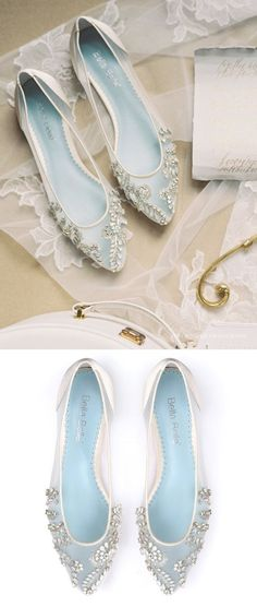 Beautiful Wedding Flats with Opal and Crystal Beading Bridal Shoes - Glass Slipper with 'Something Blue' Bella Belle Willow