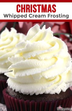 The Best Whipped Cream Frosting You're gonna want to try this Christmas Whipped Cream Frosting on all of your Christmas baked goods. So easy to make and super delicious, it is the best Christmas Frosting Recipe you'll ever try. Frosting Recipes, Cupcake Recipes, Baking Recipes, Cupcake Cakes, Dessert Recipes, Best Cream Frosting Recipe, Bake Goods Recipes, Cupcake Ideas, Recipes With Whipping Cream