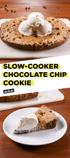 PSA: You can make this GIANT chocolate chip cookie in your slow-cooker. Get the recipe at Delish.com. #slowcooker #cookie #chocolate #chocolatechip #dessert #recipe #delish #easyrecipe
