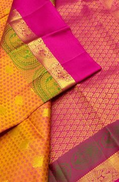 Orange Handloom Kanjeevaram Pure Silk Saree Kanjivaram Sarees Silk, Kanchipuram Saree, Pure Silk Sarees, Wedding Saree Blouse Designs, Wedding Silk Saree, Bridal Sarees South Indian, Indian Bridal, Ethnic Sarees, Indian Sarees