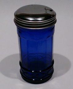 Cobalt Blue Glass Sugar Shaker Dispenser Metal Top Diner ...