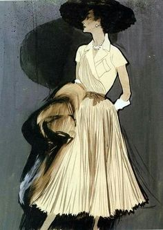 René Gruau February 1909 – 31 March was a renowned fashion illustrator whose exaggerated portrayal of fashion design through painting has had a lasting effect on the fashion industry . Art And Illustration, Fashion Illustration Vintage, Fashion Illustrations, Vintage Fashion Sketches, Illustration Techniques, Graphic Illustrations, Arte Fashion, Fashion Design, Fashion Models