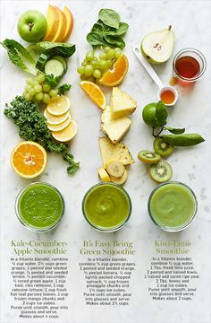 Kale-Cucumber-Apple Smoothie - In a Vitamix blender, combine ½ cup water, 2½ cups green grapes, 1 peeled and seeded orange, ½ peeled and seeded lemon, ½ peeled cucumber, ½ cored green apple, 1 cup kale, ribs removed, 1 cup romaine lettuce, 1 cup fresh flat-leaf parsley leaves, 1 cup frozen mango chunks and 2 cups ice cubes. Puree until smooth, pour into glasses and serve. Makes about 4 cups. | It's Easy Being Green Smoothie - In a Vitamix blender, combine ½ cup green grapes, 1 peeled and…