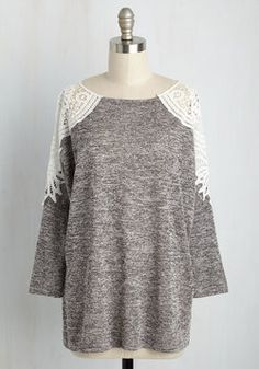 Bookstore Beauty Top. Novels and comics and knit tops - yes please! #grey #modcloth