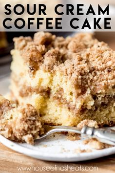 This scrumptious Sour Cream Coffee Cake has a ribbon of cinnamon streusel in the middle and even more of the cinnamon-sugar goodness on top! It's perfect for breakfast and brunch or even as a simple dessert with a scoop of vanilla ice cream! Easy Cake Recipes, Easy Desserts, Baking Recipes, Delicious Desserts, Cinnamon Cake Recipes, Easy Cakes To Bake, Easy Crumb Cake Recipe, Best Recipes, Best Easy Dessert Recipes