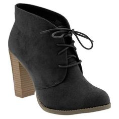 Old Navy Women's Sueded Oxford Ankle Boots ($31) ❤ liked on Polyvore featuring shoes, boots, ankle booties, heels, zapatos, chaussures, women, short boots, lace up oxford booties and lace up heel boots