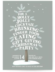 Holiday Party Invitations by Minted | Holly Jolly Tree Party | Stationery & Occasions