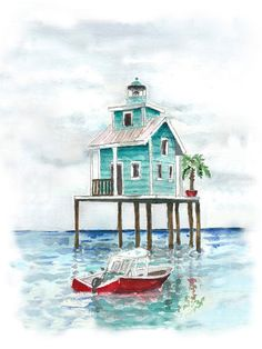 Rustic beach house watercolor painting. Watercolor artist by HammerToLace