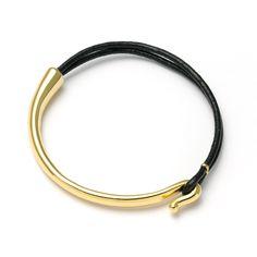 Leather + gold bracelet