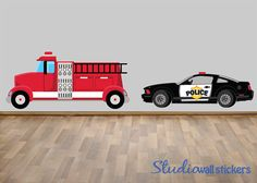 Police Car Firetruck Wall Decal Reusable by StudioWallStickers, $56.00
