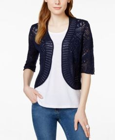 2e1b5b9e341d21 JM Collection Crochet Cropped Cardigan, Only at Macy's & Reviews - Sweaters  - Women - Macy's