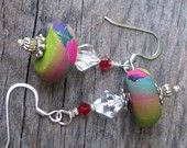Earrings de Venezia, polymer clay and Swarovski Crystal, Italian style, Stephania. By Robin Johnston, on Etsy