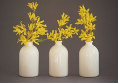 White Minimalist Bud Vases // Set of Three от honeycombstudio, $35.00