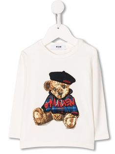 Shop Msgm Babies' Embroidered Teddybear Long Sleeve Top In White from stores. Off-white stretch cotton embroidered teddybear top from MSGM Kids featuring a ribbed round neck and long sleeves. World Of Fashion, Kids Fashion, Fashion Design, Msgm Kids, Baby Design, Long Sleeve Tops, Kids Outfits, Women Wear, Teddy Bear