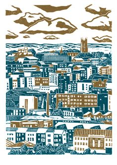 x 42 cm) poster-print entitled 'Sheffield City View printed in pink and brown, and also in dark grey and dark blue. Seventh in my series of Sheffield views. This is a view of the city centre looking from the Pitsmoor / Rutland Road par. Pink Brown, Brown And Grey, Blue Grey, Linocut Prints, Poster Prints, Art Prints, Sheffield Art, Sheffield Steel, Yorkshire Day