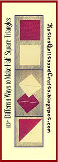 Lots and LOTS of different ways to make HALF SQUARE TRIANGLES!!!  KatiesQuiltsandCrafts.blogspot.com