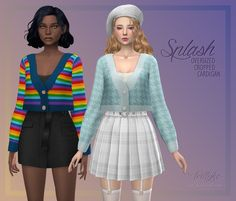 Splash Oversized Cropped Cardigan   Trillyke on Patreon Mods Sims 4, Sims 4 Mods Clothes, Sims 4 Clothing, Sims 4 Teen, Sims Four, Sims 4 Mm Cc, Maxis, Pelo Sims, Sims 4 Dresses