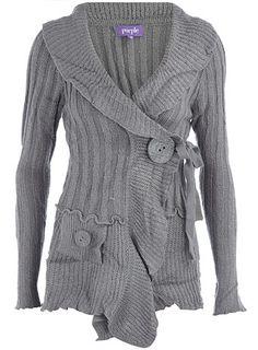 Grey knit, big button cardigan $29